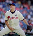 EDS NOTE: LEWD GESTURE - Philadelphia Phillies pitcher Jonathan Papelbon gestures to the crowd after giving up four runs to the Miami Marlins during the ninth inning of a baseball game Sunday, Sept. 14, 2014, in Philadelphia. Papelbon was ejected from the game. The Marlines won 5-4. (AP Photo/H. Rumph Jr)