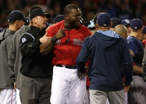 Boston, MA - 05/30/14 (4th inning) Boston Red Sox designated hitter David Ortiz (34) is restrained by umpire Jeff Kellogg (8) as both benches cleared in the fourth inning. The Boston Red Sox host the Tampa Bay Rays in Game 1 of a three game series at Fenway Park. - (Barry Chin/Globe Staff), Section: Sports, Reporter: Peter Abraham, Topic: 31Red Sox-Rays, LOID: 7.3.3309107321.